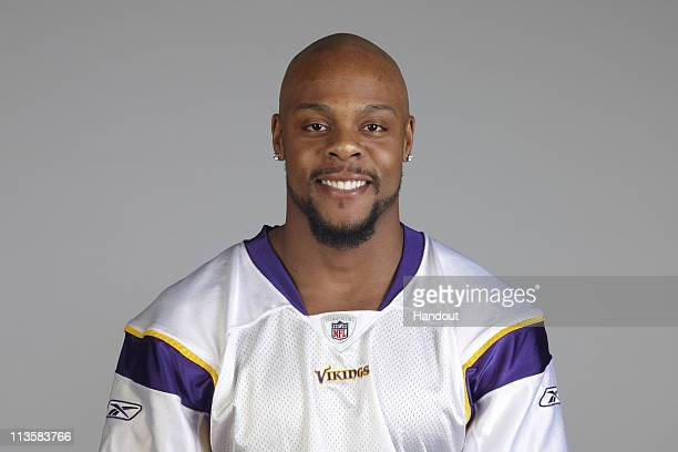 In this handout image provided by the NFL Visanthe Shiancoe poses for his 2010 NFL headshot circa 2010 in Eden Prairie Minnesota