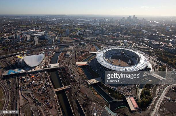 In this handout image provided by the Olympic Delivery Authority, a south facing aerial view reveals the Olympic Stadium of the London 2012 Olympic...