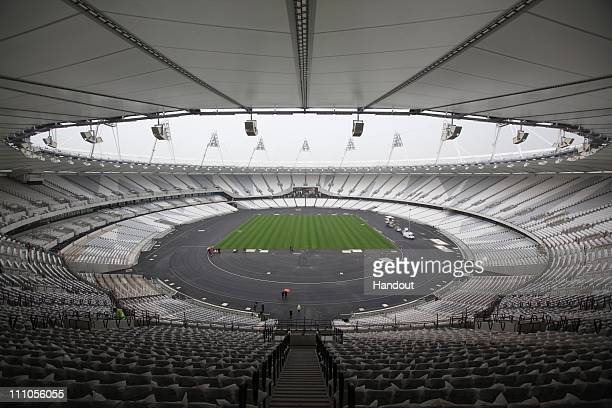 In this handout image provided by the Olympic Delivery Authority a general view inside the Olympic Stadium where the last piece of turf was laid on...