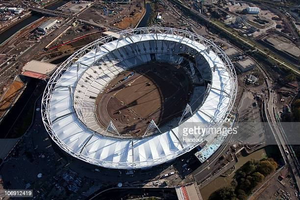 In this handout image provided by the Olympic Delivery Authority, an aerial view reveals the Olympic Stadium of the London 2012 Olympic Games under...