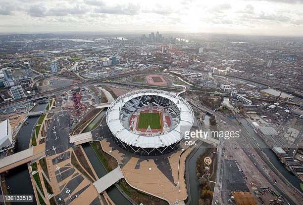 In this handout image provided by the Olympic Delivery Authority an aerial view reveals a section of the Olympic Stadium in London 2012 Olympic Games...