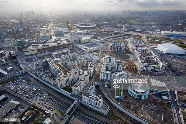 In this handout image provided by the Olympic Delivery Authority, an aerial view looking south-west reveals a view of the Olympic Village in the...