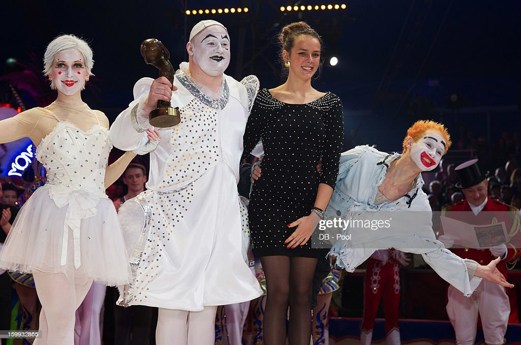 In this handout image provided by the Palais Princier de Monaco, Pauline Ducruet (2nd R) presents a Bronze Clown Award to The Trio Markin during the Monte-Carlo 37th International Circus Festival Awards Ceremony on January 22, 2013 in Monte-Carlo, Monaco.