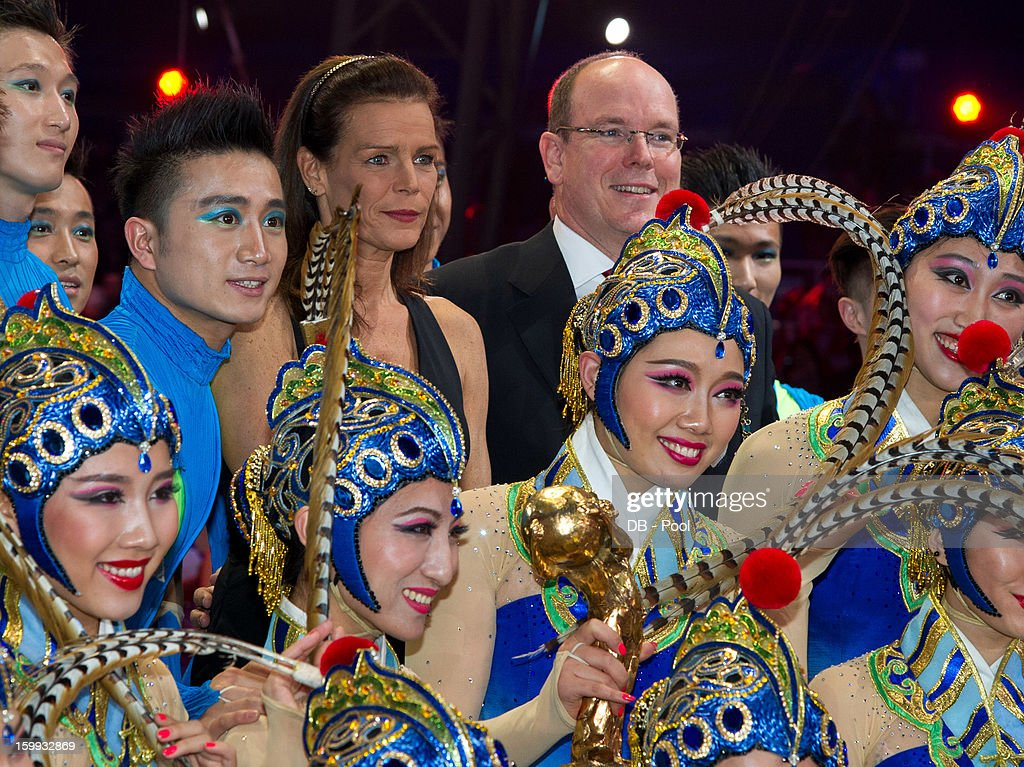 In this handout image provided by the Palais Princier de Monaco, Prince Albert II of Monaco and Princess Stephanie of Monaco present a Golden Clown Award to the Bejin Acrobatic Troupe during the Monte-Carlo 37th International Circus Festival Awards Ceremony on January 22, 2013 in Monte-Carlo, Monaco.