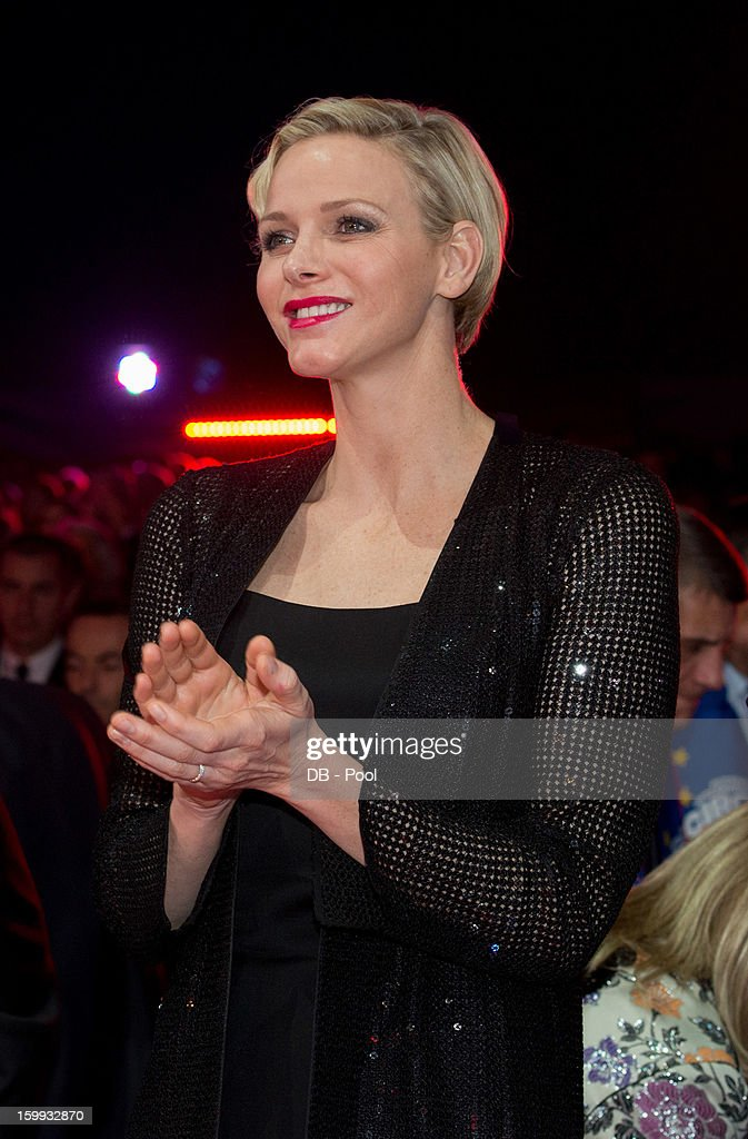 In this handout image provided by the Palais Princier de Monaco, Princess Charlene of Monaco applauds during the the Monte-Carlo 37th International Circus Festival Awards Ceremony on January 22, 2013 in Monte-Carlo, Monaco.