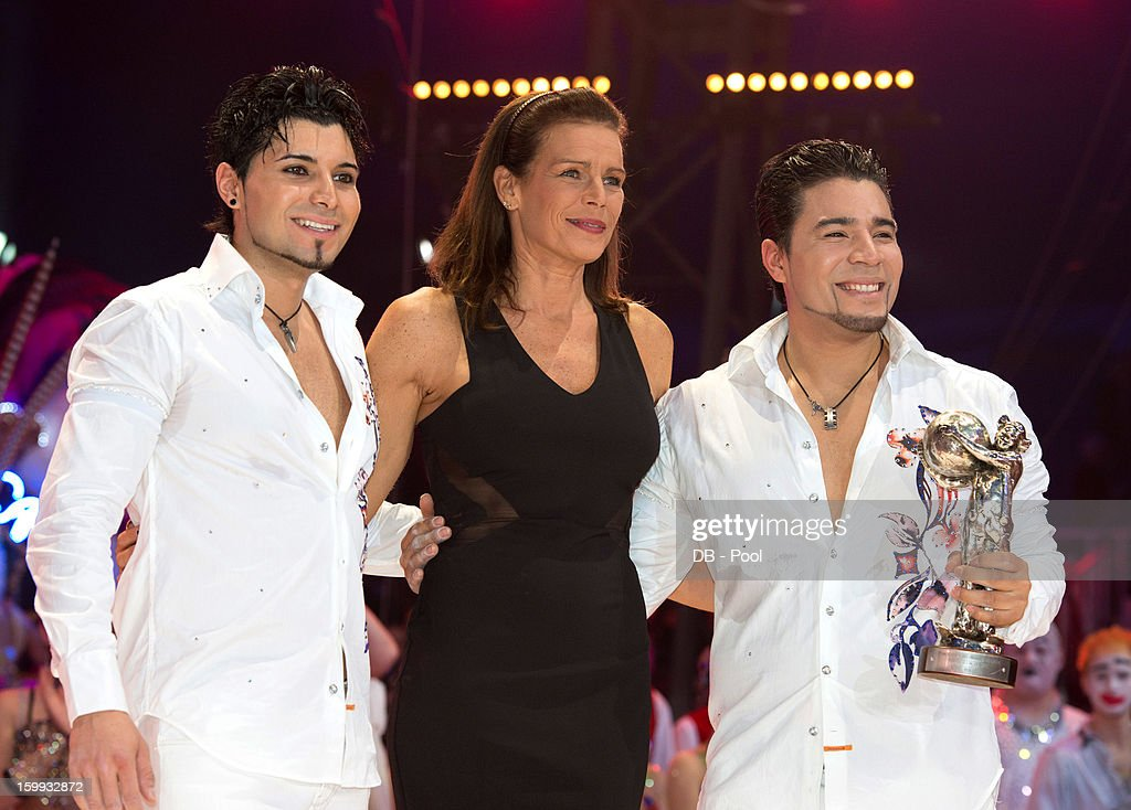 In this handout image provided by the Palais Princier de Monaco, Princess Stephanie of Monaco (C) presents a Silver Clown Award to The Navas Brothers during the Monte-Carlo 37th International Circus Festival Awards Ceremony on January 22, 2013 in Monte-Carlo, Monaco.