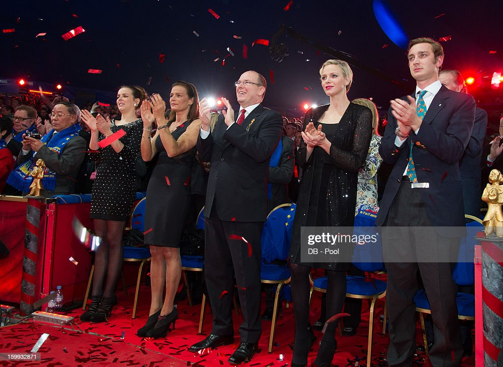In this handout image provided by the Palais Princier de Monaco, (L-R) Pauline Ducruet, Princess Stephanie of Monaco, Prince Albert II of Monaco, Princess Charlene of Monaco and Pierre Casiraghi attend the the Monte-Carlo 37th International Circus Festival Awards Ceremony on January 22, 2013 in Monte-Carlo, Monaco.