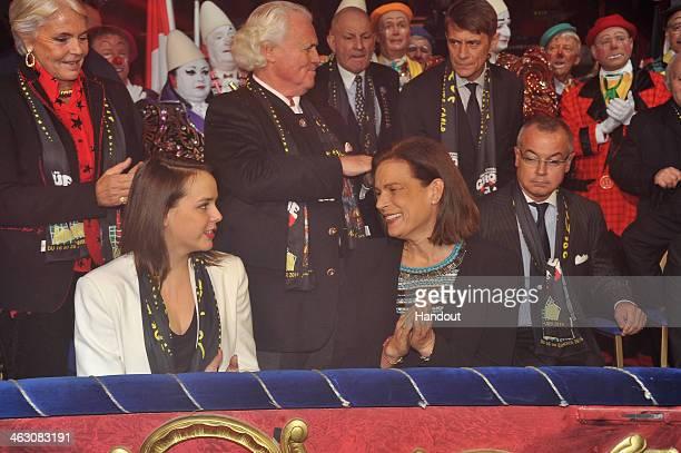 In this handout image provided by the Palais Princier de Monaco Pauline Ducruet Princess Stephanie of Monaco attend the 38th International Circus...
