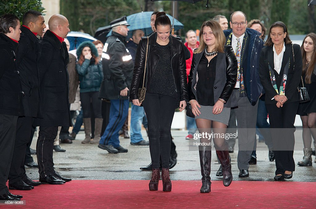 In this handout image provided by the Palais Princier de Monaco, Pauline Ducruet, Camille Gottlieb, Prince Albert II of Monaco and Princess Stephanie of Monaco attend the 38th International Circus Festival on January 19, 2014 in Monte-Carlo, Monaco.