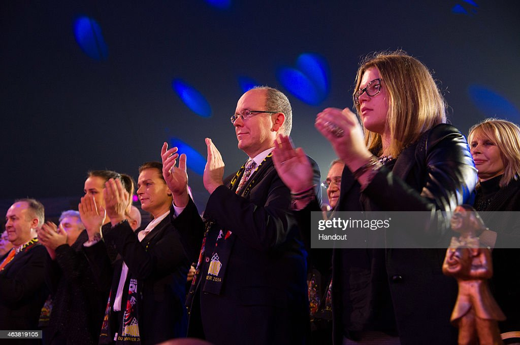 In this handout image provided by the Palais Princier de Monaco, Pauline Ducruet (L), Princess Stephanie of Monaco, Prince Albert II of Monaco and Camille Gottlieb attend the 38th International Circus Festival on January 19, 2014 in Monte-Carlo, Monaco.