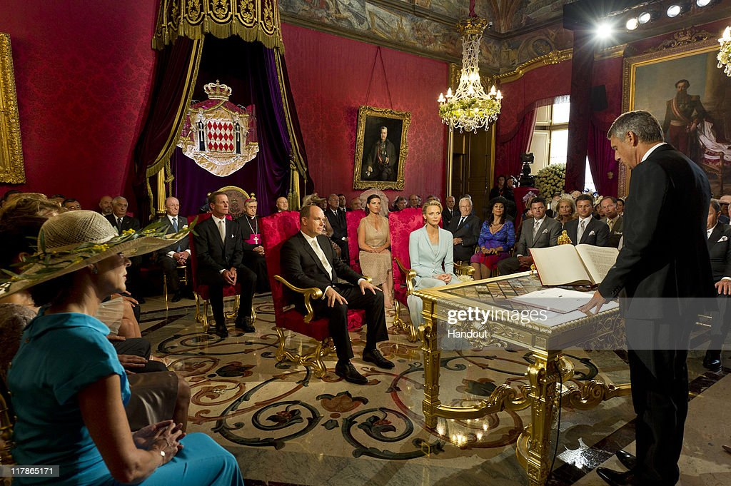 In this handout image provided by the Palais Princier, Prince Albert II of Monaco and Princess Charlene of Monaco are seated in the Throne Room during the civil ceremony of their Royal Wedding at the Prince's Palace on July 1, 2011 in Monaco. The ceremony took place in the Throne Room of the Prince's Palace of Monaco, followed by a religious ceremony to be conducted in the main courtyard of the Palace on July 2. With her marriage to the head of state of Principality of Monaco, Charlene Wittstock has become Princess consort of Monaco and gain the title, Princess Charlene of Monaco. Celebrations including concerts and firework displays are being held across several days, attended by a guest list of global celebrities and heads of state.