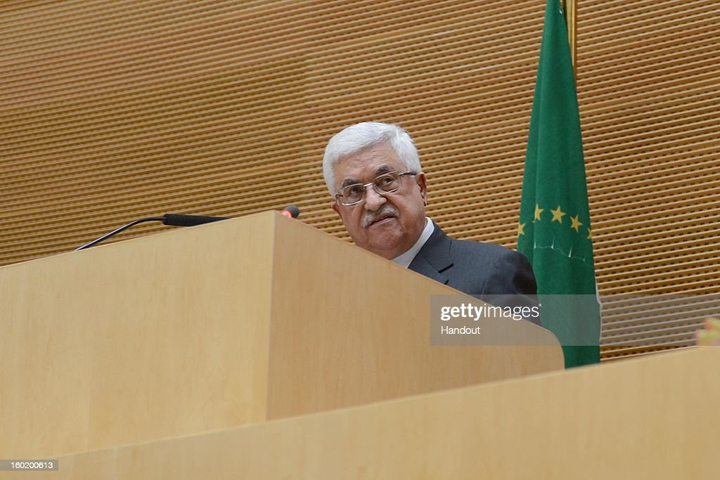 In this handout image provided by the Palestinian Press Office, President Mahmoud Abbas speaks at a meeting of the African Union on January 27, 2013 in Addis Ababa, Ethiopia.