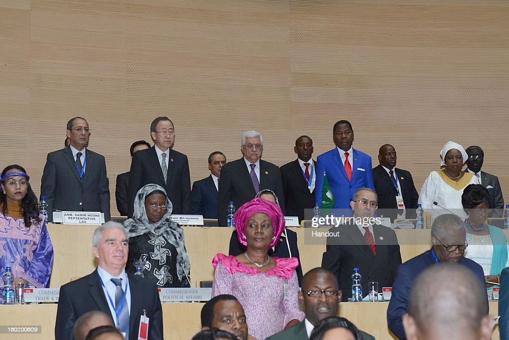 In this handout image provided by the Palestinian Press Office, Ban Ki-moon, the Secretary-General of the U.N. (Back, 2nd L) and President Mahmoud Abbas (Back, center) attend a meeting of the African Union on January 27, 2013 in Addis Ababa, Ethiopia.