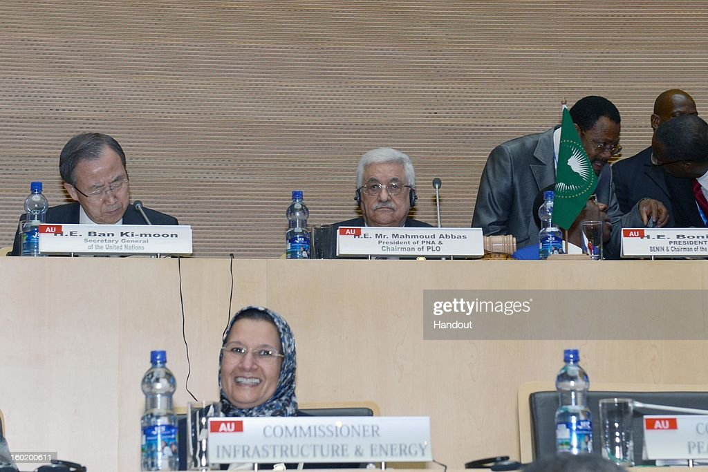 In this handout image provided by the Palestinian Press Office, Ban Ki-moon, the Secretary-General of the U.N. (L) and President Mahmoud Abbas (C) attend a meeting of the African Union on January 27, 2013 in Addis Ababa, Ethiopia.