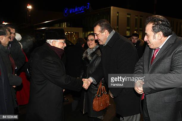 In this handout image provided by the Palestinian Press Office President Mahmoud Abbas arrives in Moscow from Chechnya December 21 2008 in Moscow...
