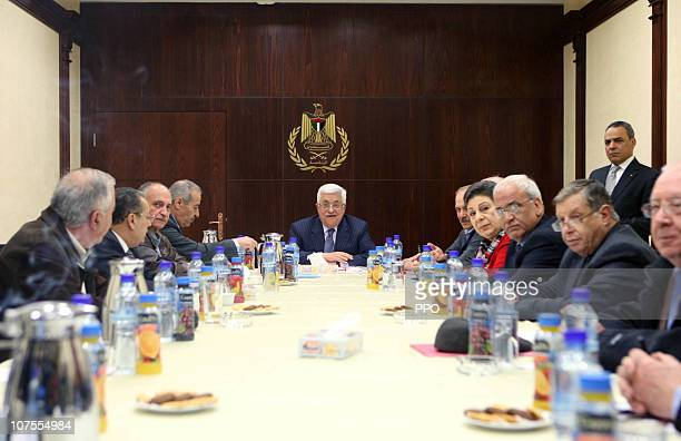 In this handout image provided by the Palestinian Press Office Palestinian President Mahmoud Abbas is seen as he chairs the meeting of the PLO...