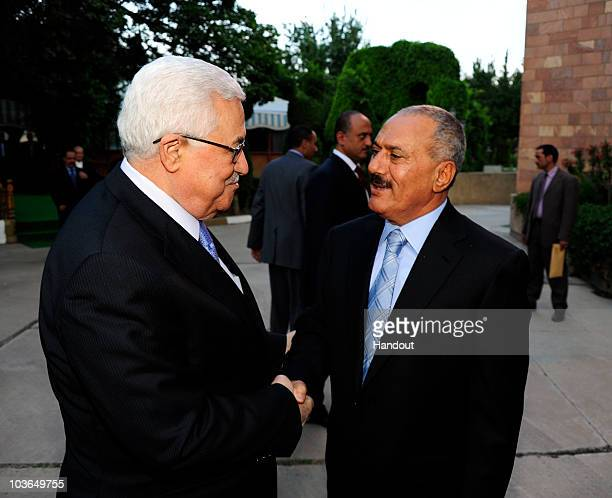 In this handout image provided by the Palestinian Press Office Palestinian President Mahmoud Abbas Abu Mazen meets with Yemeni President Ali Abdullah...