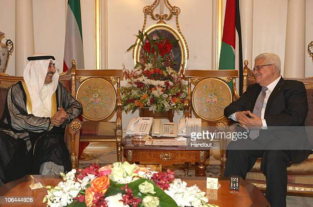 In this handout image provided by the Palestinian Press Office Palestinian President Mahmoud Abbas meets with Parliament Speaker Sheikh Jassem...
