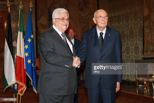 In this handout image provided by the Palestinian Press Office Palestinian President Mahmoud Abbas meets with Italian President Giorgio Napolitano on...