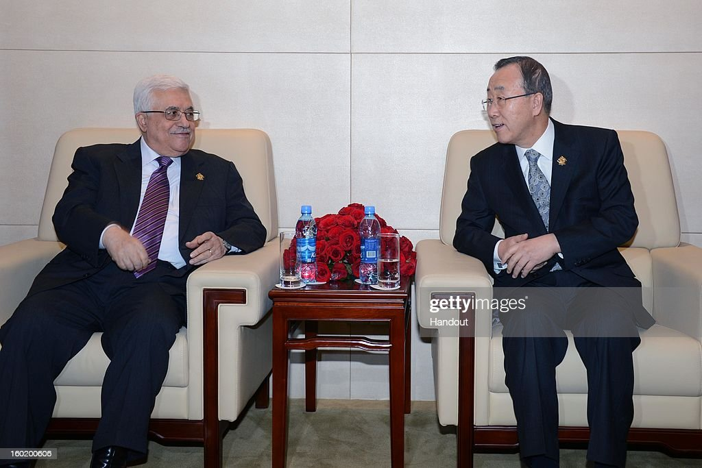 In this handout image provided by the Palestinian Press Office, President Mahmoud Abbas visits with Ban Ki-moon, the Secretary-General of the U.N. during a meeting of the African Union on January 27, 2013 in Addis Ababa, Ethiopia.