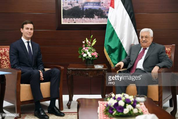 In this handout image provided by the Palestinian Press Office Palestinian President Mahmoud Abbas meets with Jared Kushner Senior Advisor to US...