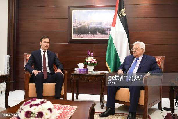In this handout image provided by the Palestinian Press Office Palestinian President Mahmoud Abbas meets with Jared Kushner White House Advisor and...