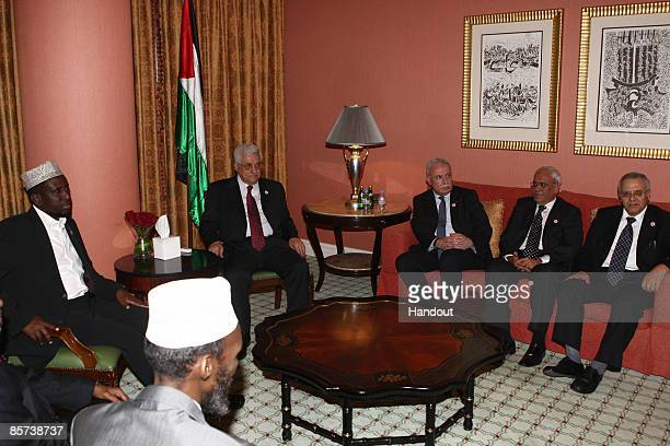 In this handout image provided by the Palestinian Press Office , Palestinian President Mahmoud Abbas meets with President of Somalia , Sheikh Sharif...