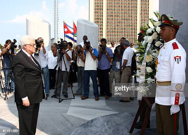 In this handout image provided by the Palestinian Press Office Palestinian President Mahmoud Abbas arrives in the Cuban Capital on September 27 2009...