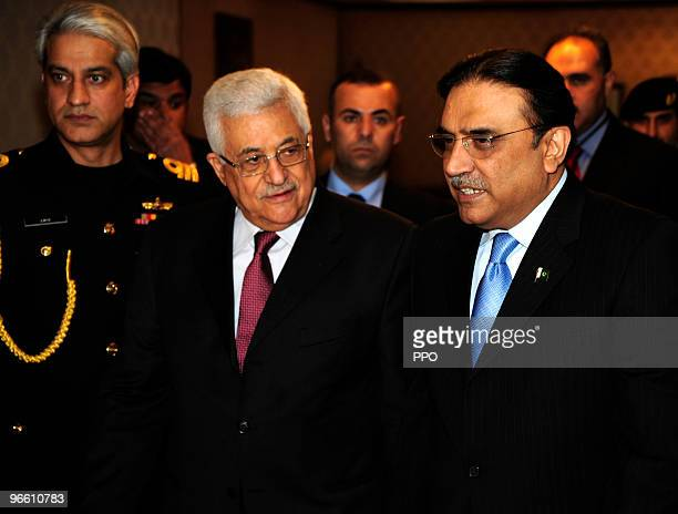 In this handout image provided by the Palestinian Press Office , Palestinian President Mahmoud Abbas meets with Pakistani President Asif Ali Zardari...