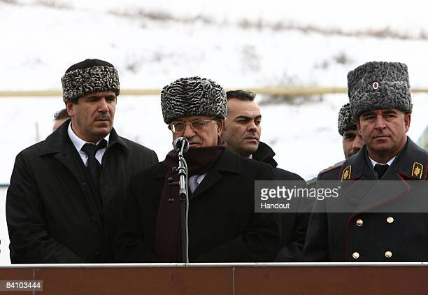 In this handout image provided by the Palestinian Press Office President Mahmoud Abbas speaks to the Chechen army December 21 2008 in Grozny Chechnya...