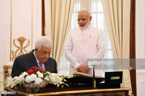 In this handout image provided by the Palestinian Press Ofice President Mahmoud Abbas meets with Indian Prime Minister Narendra Modi on May 16 2017...