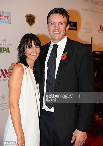 In this handout image provided by The RFU, Martin Corry and his wife Tara during the England RWC 2003 Ten Year Celebration Dinner at Battersea...