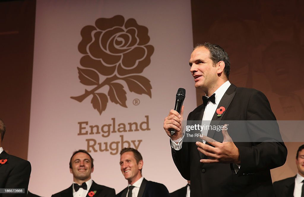 In this handout image provided by the RFU, Martin Johnson, the World Cup winning captain talks to the audience during the England RWC 2003 Ten Year Celebration dinner at Battersea Evolution on November 1, 2013 in London, England.