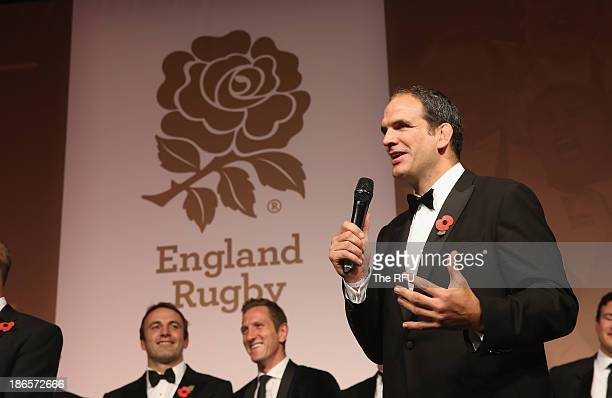 In this handout image provided by the RFU Martin Johnson the World Cup winning captain talks to the audience during the England RWC 2003 Ten Year...