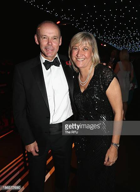 In this handout image provided by the RFU World Cup winning coach Sir Clive Woodward poses with Debbie Jevans the chief executive of England Rugby...