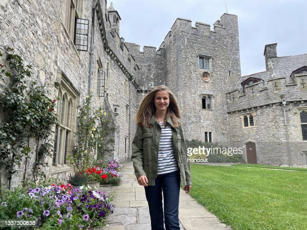 In this handout image provided by the Royal Household, Crown Princess Leonor of Spain starts the school year at UWC Atlantic College on August 30,...