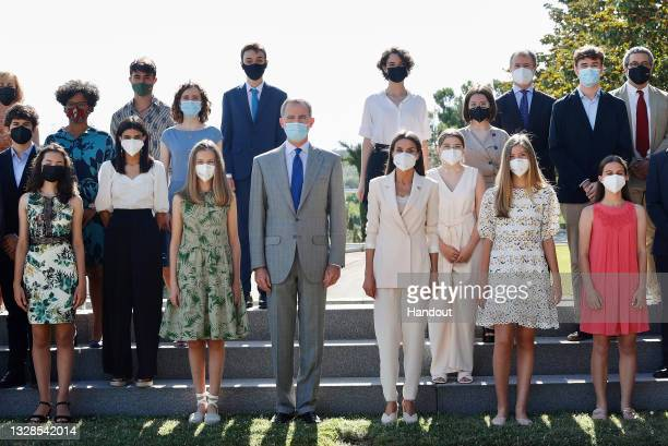 In this handout image provided by the Royal Household, King Felipe VI of Spain, Queen Letizia of Spain, Crown Princess Leonor of Spain and Princess...
