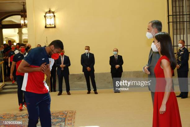 In this handout image provided by the Royal Household, King Felipe VI of Spain and Queen Letizia of Spain receive the Spanish Olympic Team before...