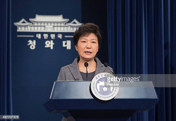 In this handout image provided by the South Korean Presidential Blue House South Korean President Park GeunHye speaks during an address to the nation...