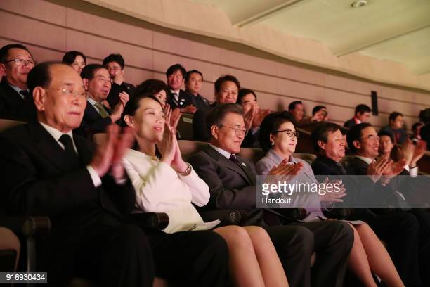 In this handout image provided by the South Korean Presidential Blue House South Korean President Moon Jaein watches a performance of North Korea's...