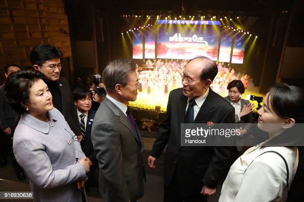 In this handout image provided by the South Korean Presidential Blue House South Korean President Moon Jaein talks with North Korea's nominal head of...