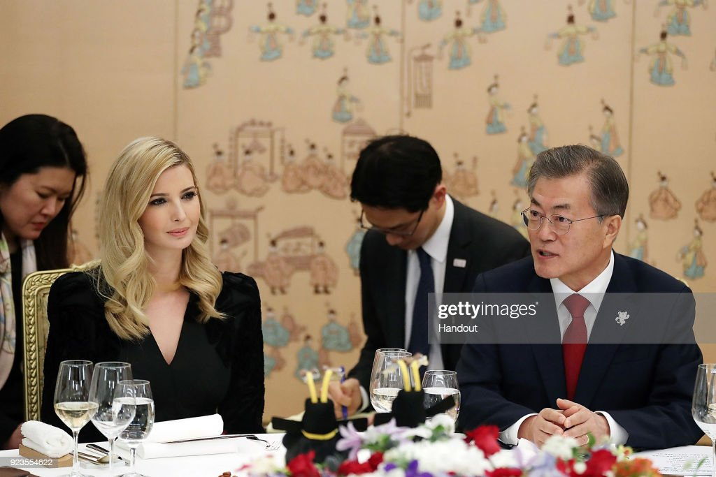 In this handout image provided by the South Korean Presidential Blue House, South Korean President Moon Jae-In (R) talks with Ivanka Trump (L) during their dinner at the Presidential Blue House on February 23, 2018 in Seoul, South Korea. Ivanka Trump is on a four-day visit to South Korea to attend the closing ceremony of the Pyeongchang Winter Olympics and to meet South Korean President Moon.