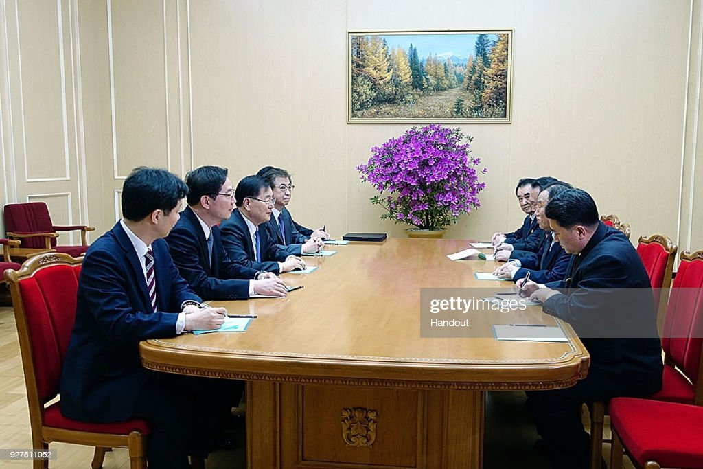 In this handout image provided by the South Korean Presidential Blue House, Chung Eui-Yong (3rd L), talks with North Korean vice chairman of North Korea's ruling Workers' Party Central Committee, Kim Yong Chol, (2nd R) on March 5, 2018 in Pyongyang, North Korea. South Korean envoys are to visit North Korea for two days to discuss issues.