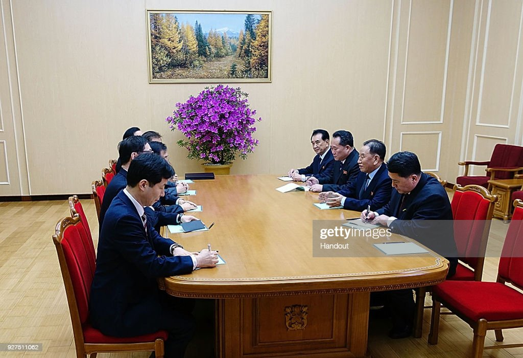 In this handout image provided by the South Korean Presidential Blue House, Kim Yong-Chol (2nd R), vice chairman of North Korea's ruling Workers' Party Central Committee, talks with South Korean delegation on March 5, 2018 in Pyongyang, North Korea. South Korean envoys are to visit North Korea for two days to discuss issues.
