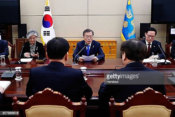 In this handout image provided by the South Korean Presidential Blue House Chung EuiYong head of the presidential National Security Office reporte to...