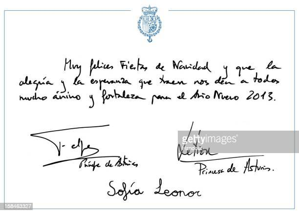 In this handout image provided by the Spanish Royal Household a detail of the Christmas card is provided featuring a festive and seasonal message...