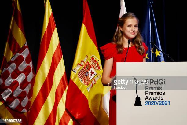 In this handout image provided by the Spanish Royal Household, Princess Leonor of Spain attends the 'Princesa De Girona' awards at Caixa Forum...