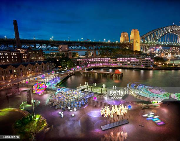In this handout image provided by The Sydney Opera House a view of illuminations across Sydney harbour are displayed as part of Vivid Sydney on May...
