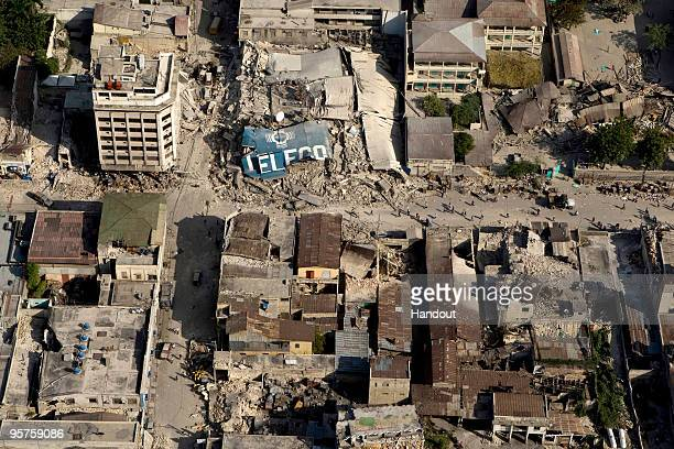 In this handout image provided by the United Nations the downtown core shows the damage after an earthquake measuring 70 rocked the Haitian capital...