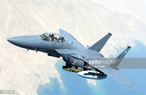 In this handout image provided by the US Air Force an F15 Strike Eagle flies over Southwest Asia during combat operations in support of Operation...